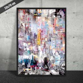 Plakat af pulserende storby