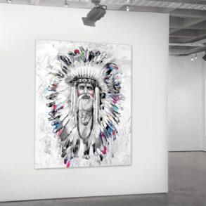 Moderne indianerhøvding på lærred