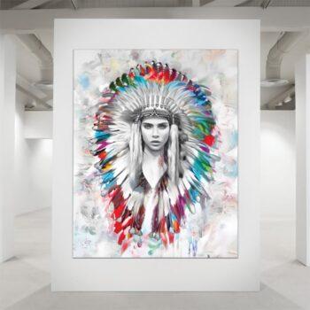 Smuk indianer i farver
