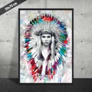 Indianderkvinde med fjer