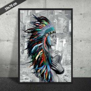 Signeret kunsttryk af indianer