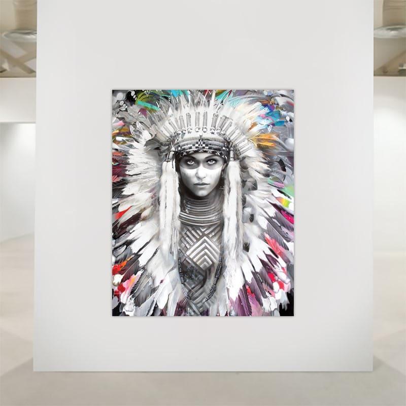 Indianerkvinde på lærredstryk