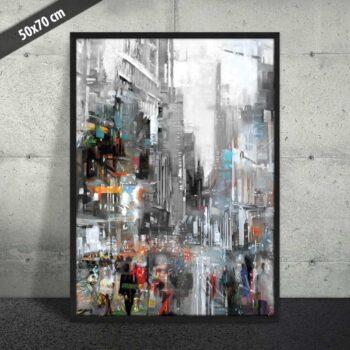 Pastel og storby på plakat