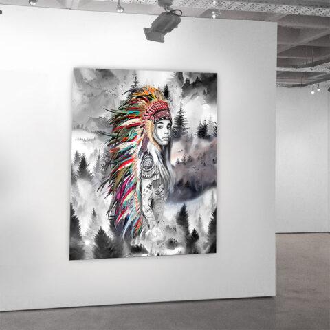 Kunst på lærred af rebelsk kvinde